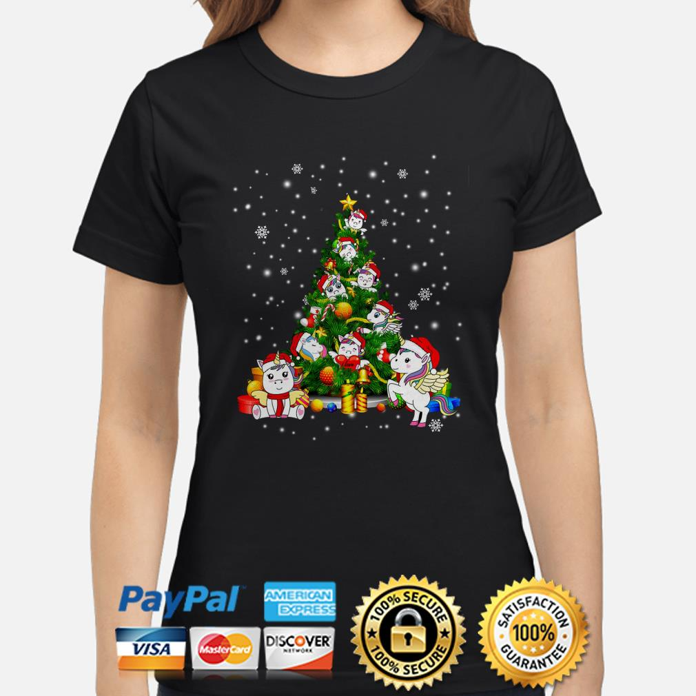 Unicorn Christmas tree ladies shirt