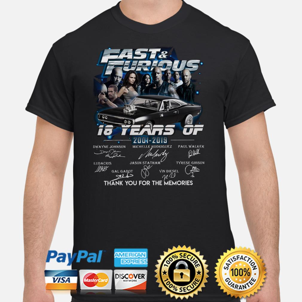18 year of Fast and Furious thank you for the memories signature shirt