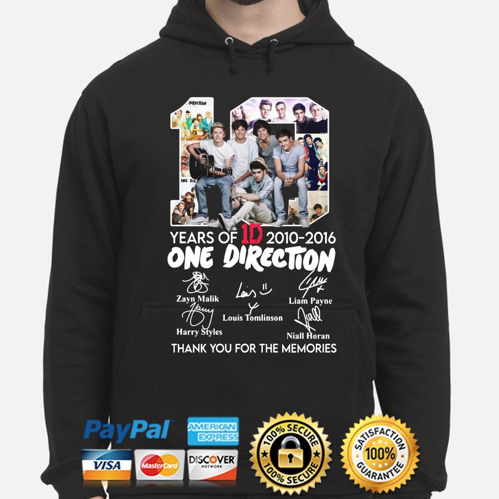 10 years of One Direction thank you for the memories signatures s hoodie