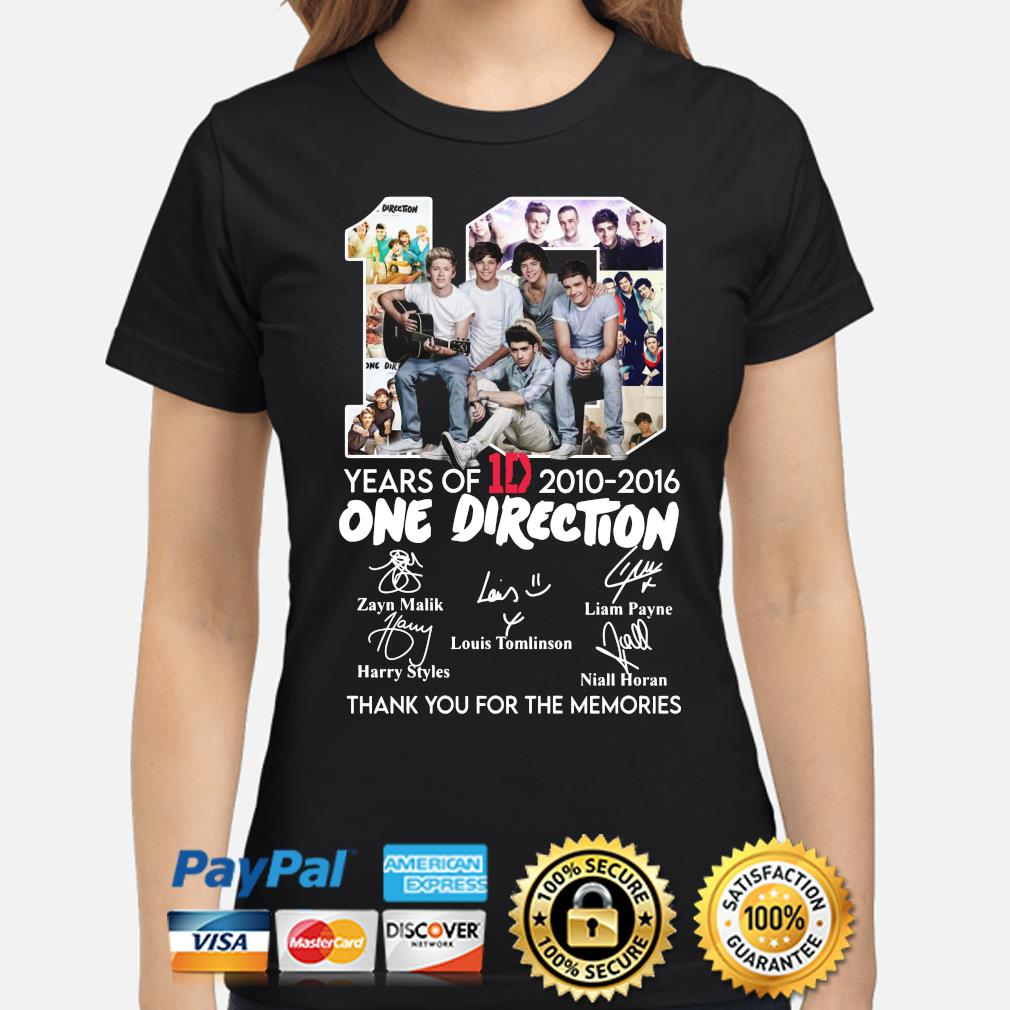 10 years of One Direction thank you for the memories signatures s ladies-shirt