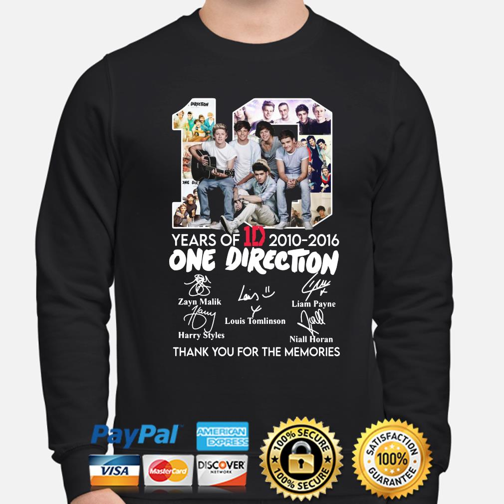 10 years of One Direction thank you for the memories signatures s sweater
