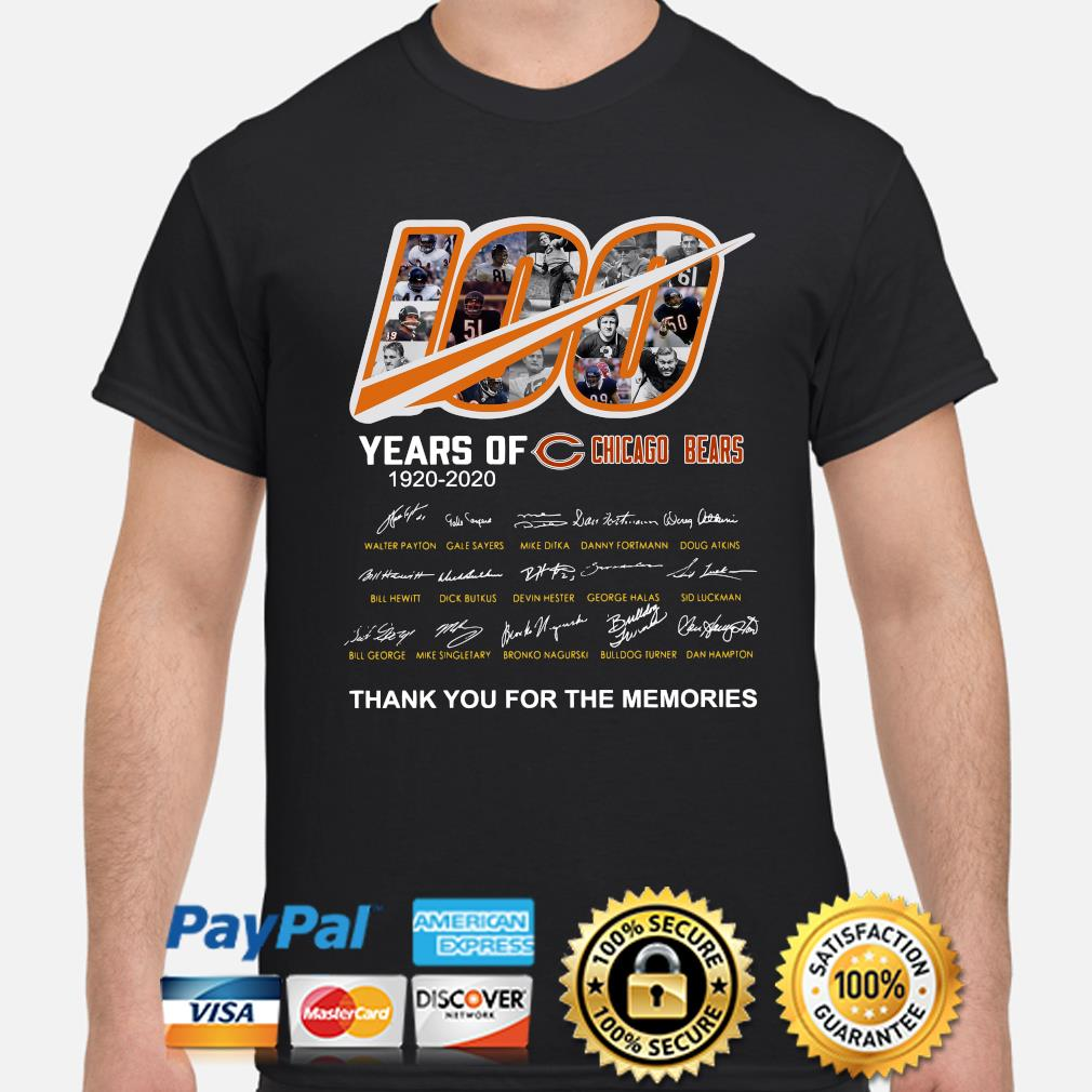 100 years of Chicago Bears thank you for the memories signature shirt