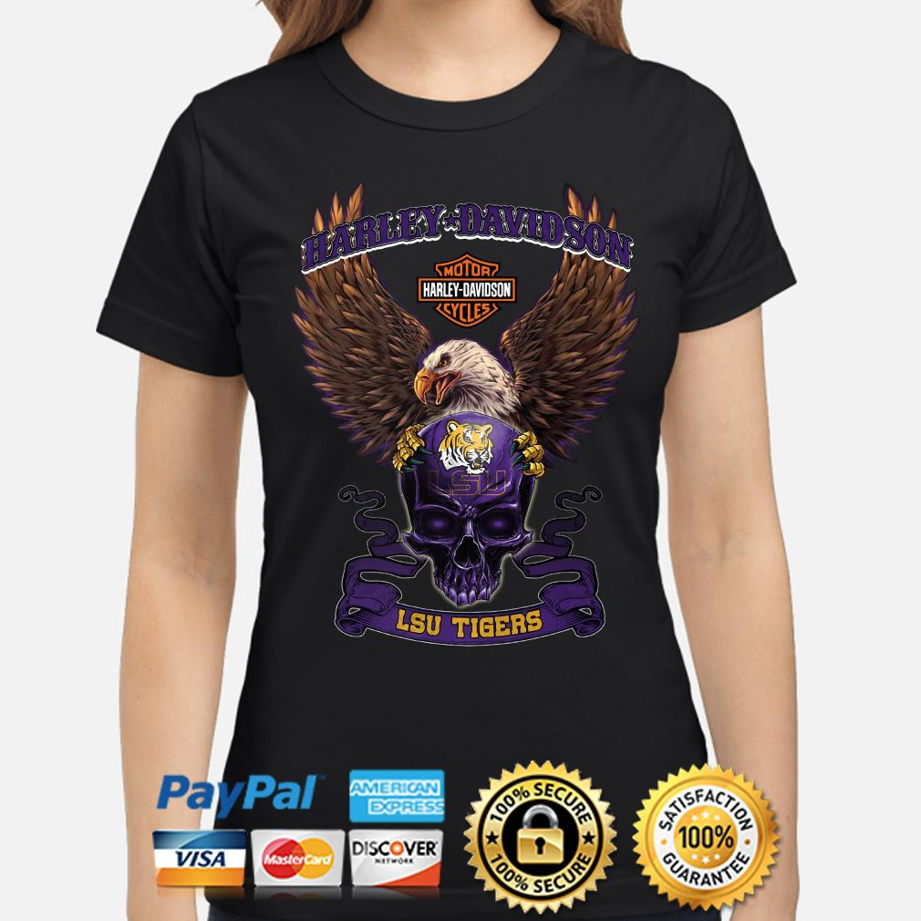 Harley Davidson Skull LSU Tigers s ladies-shirt
