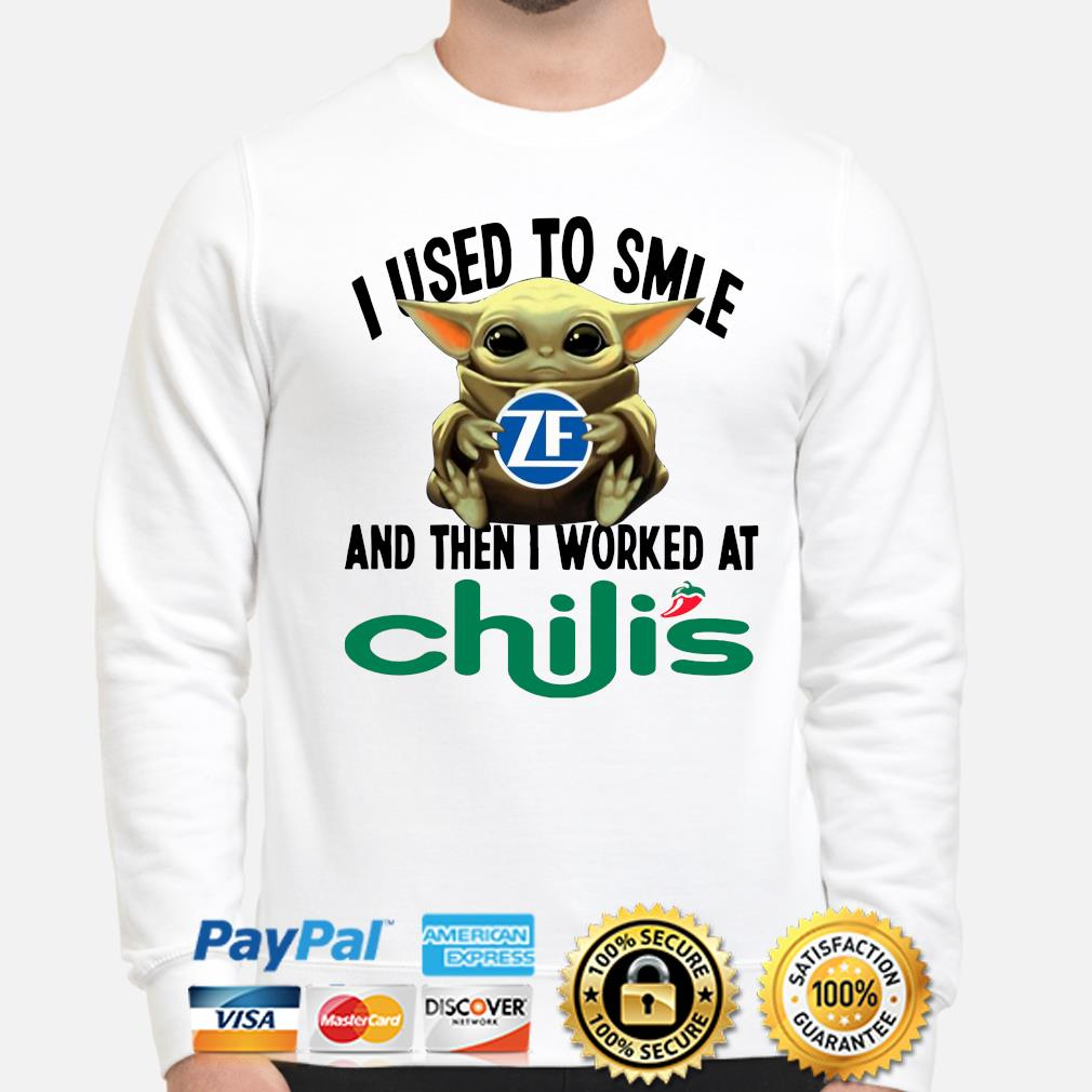 Baby Yoda I used to smile and the I worked at Chili's s sweater
