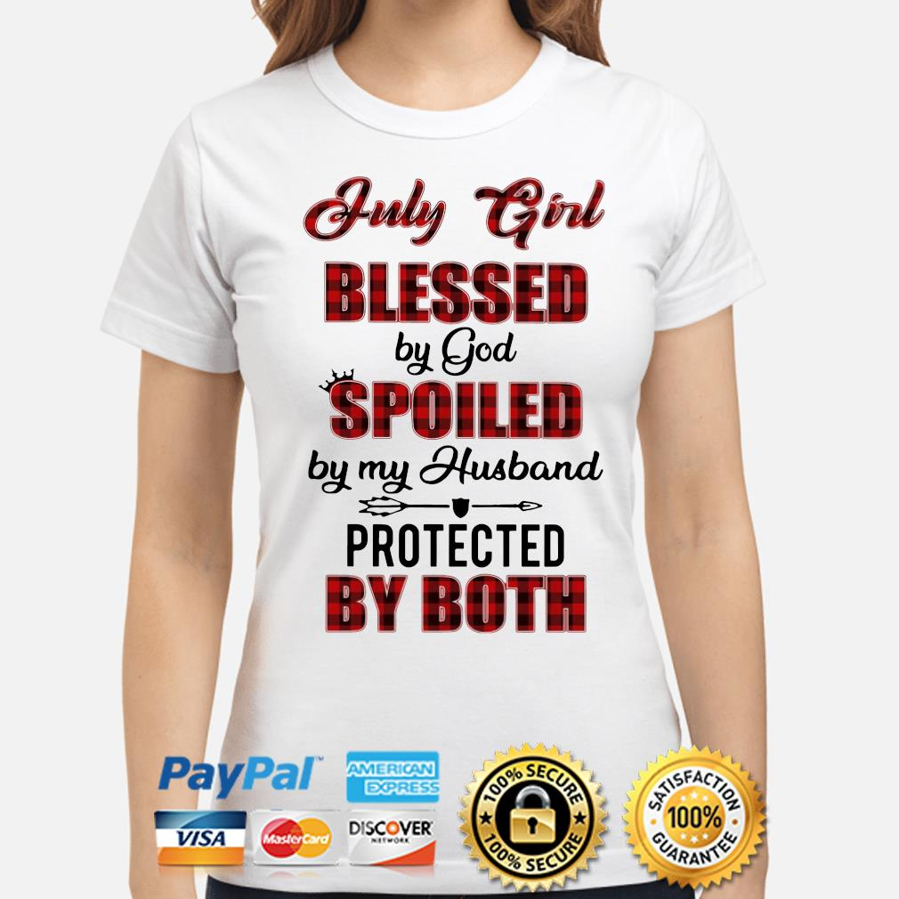 July Girl blessed by God Spoiled by my husband Buffalo plaid s ladies-shirt