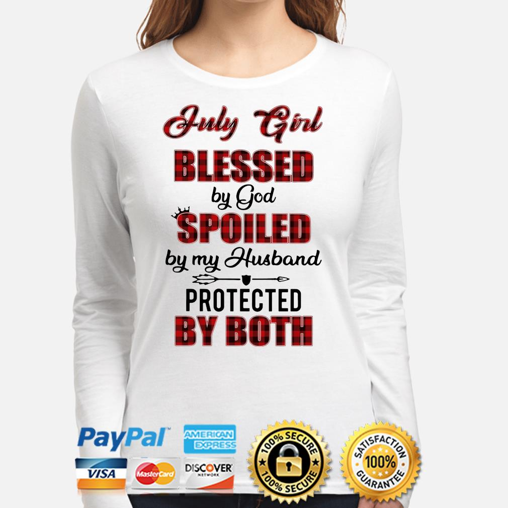 July Girl blessed by God Spoiled by my husband Buffalo plaid s long-sleeve