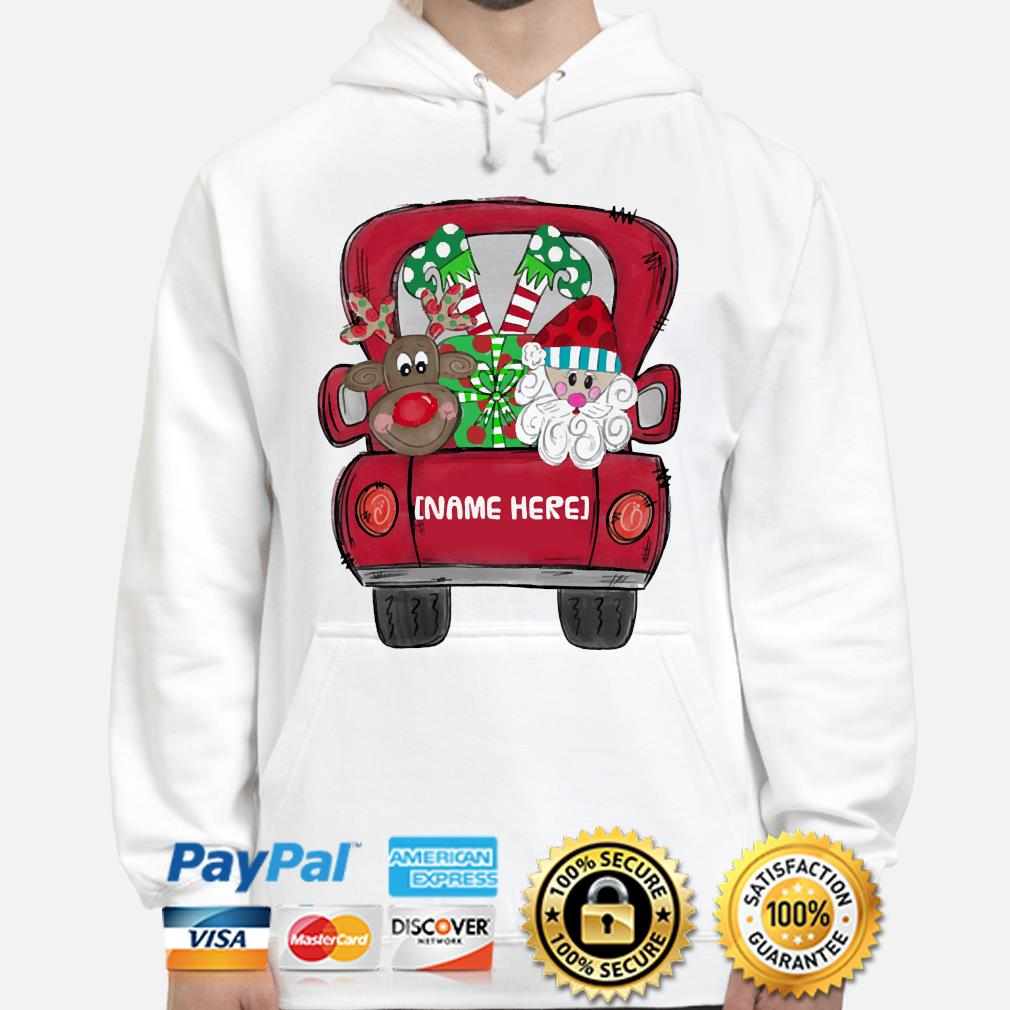 Personalized Red Truck Christmas sweater hoodie