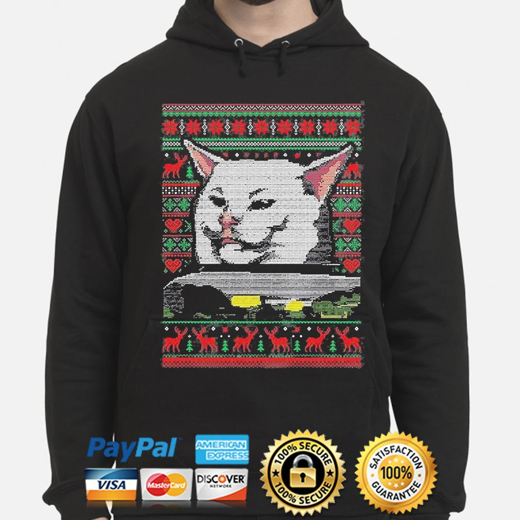 Woman Yelling At A Cat Meme Smudge the Cat Ugly Christmas sweater hoodie