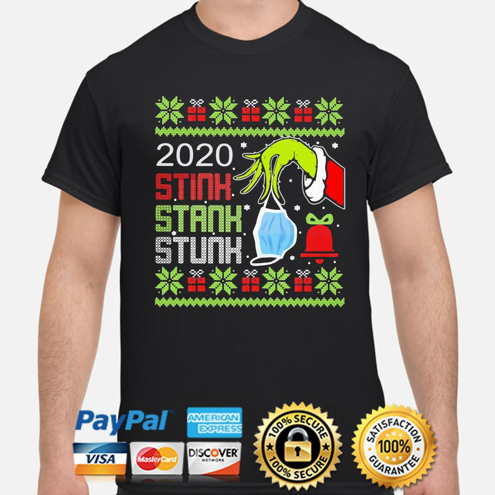 Official The Grinch hand holding mask 2020 stink stank stunk ugly Christmas sweater