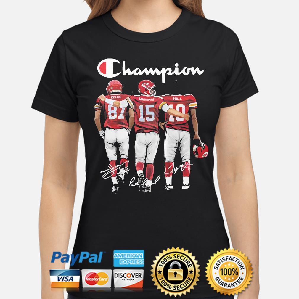 Kansas City Chiefs Champion Kelce Mahomes and Hill signatures s ladies-shirt