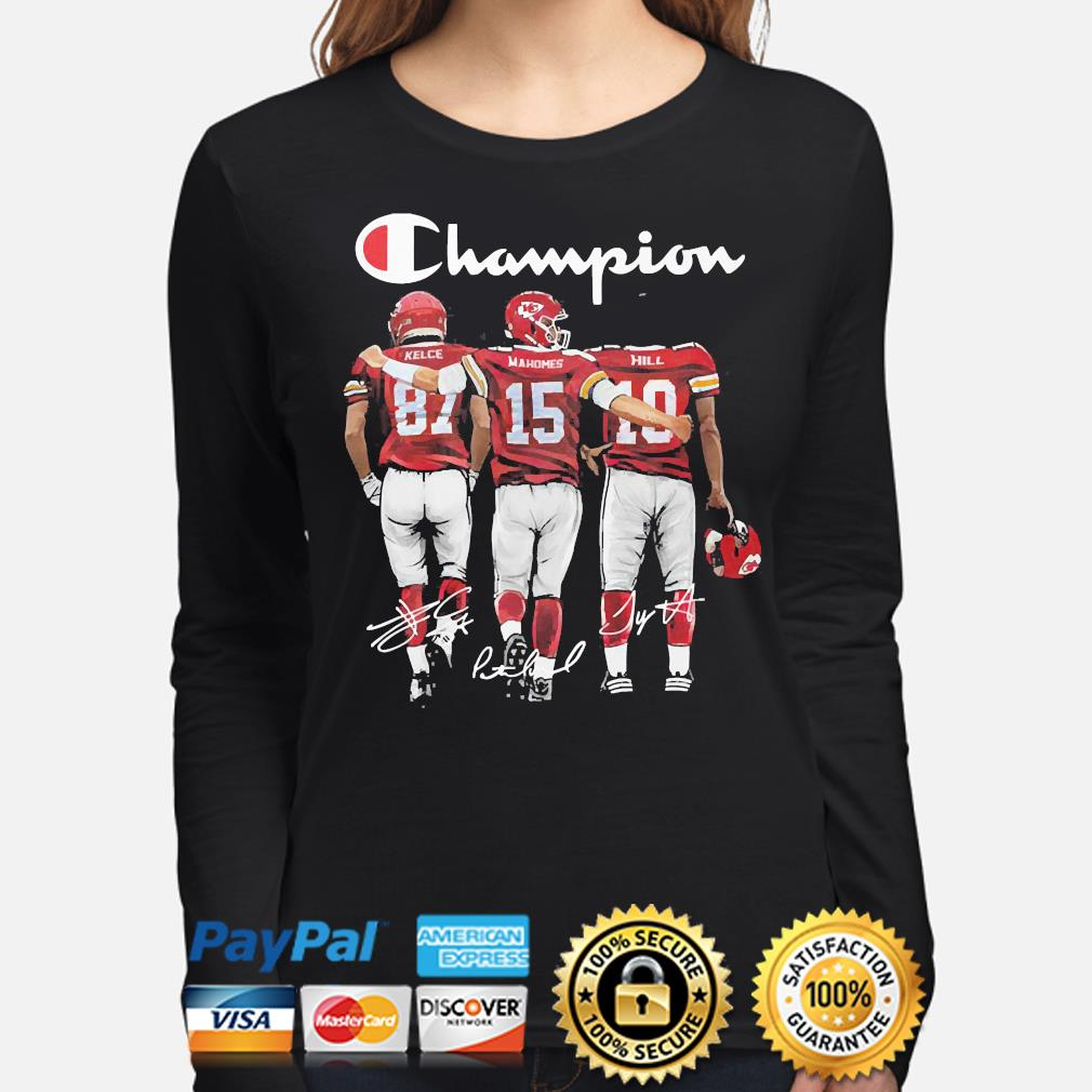 Kansas City Chiefs Champion Kelce Mahomes and Hill signatures s long-sleeve