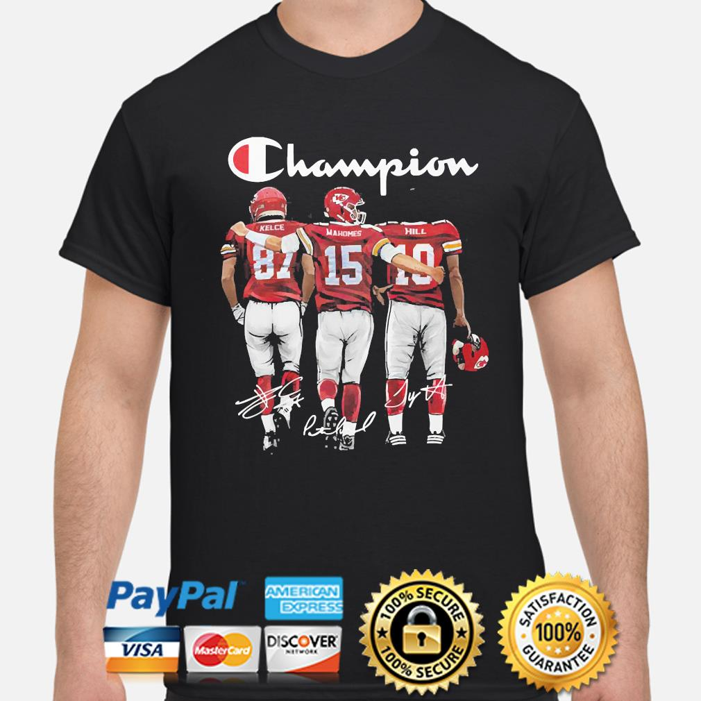 Kansas City Chiefs Champion Kelce Mahomes and Hill signatures shirt