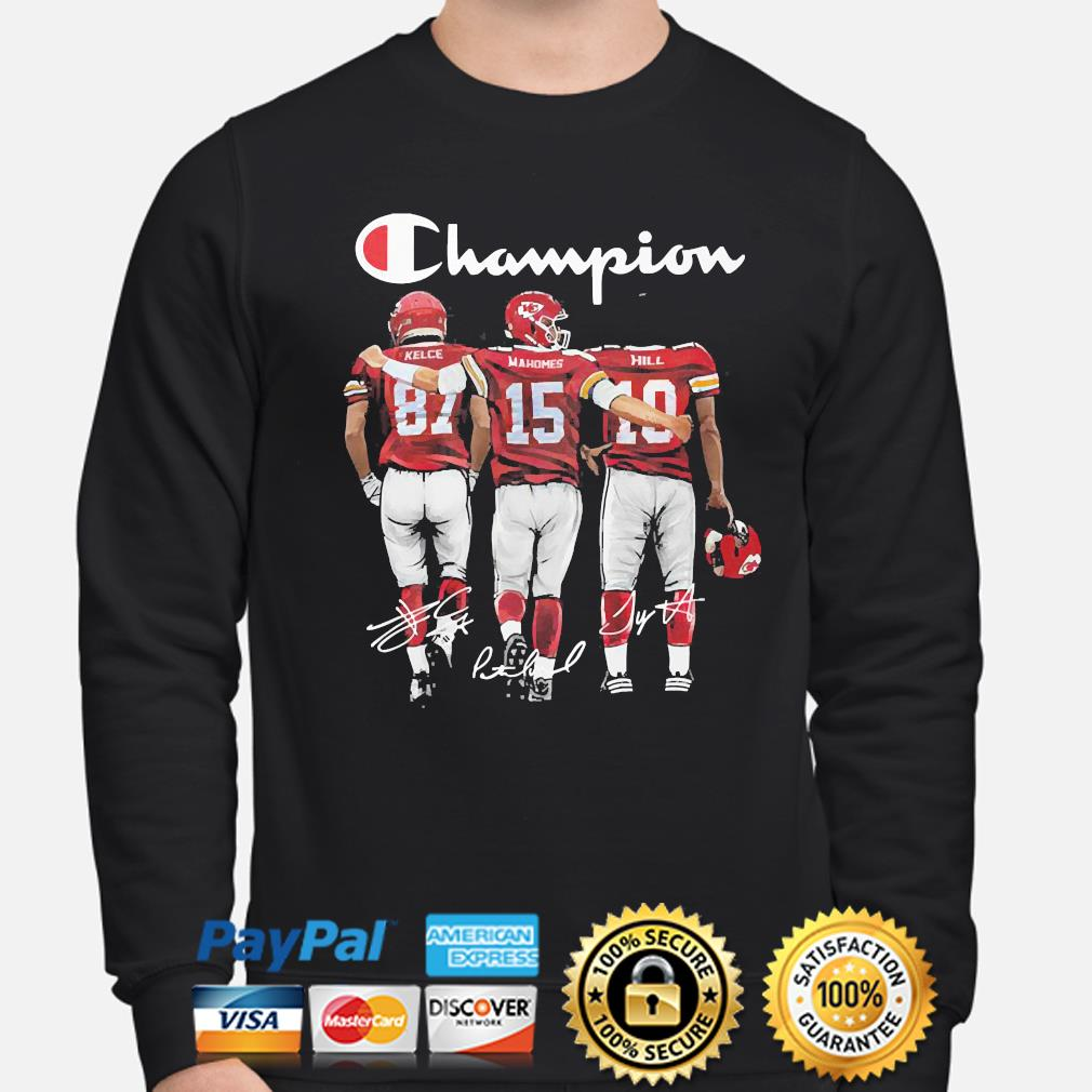 Kansas City Chiefs Champion Kelce Mahomes and Hill signatures s sweater