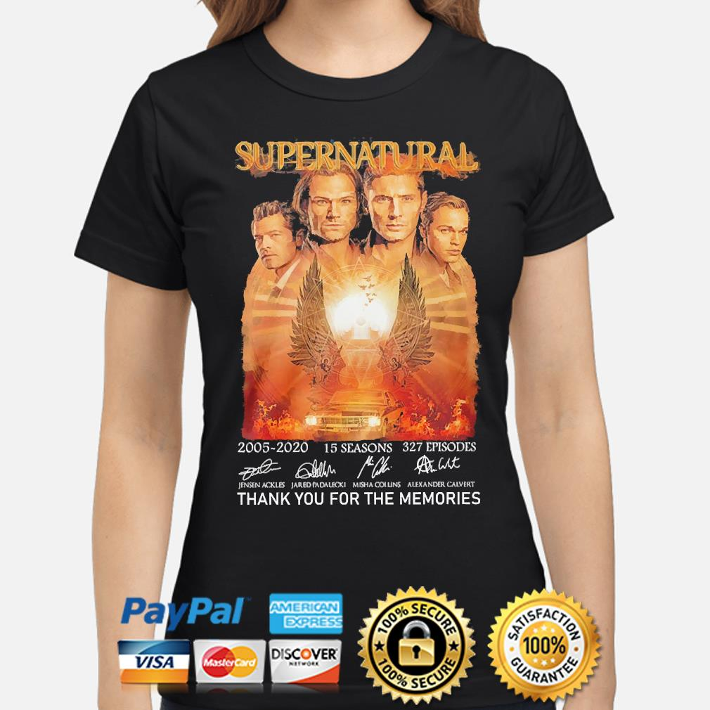 Supernatural 15 seasons 327 episodes thank you for the memories signatures s ladies-shirt