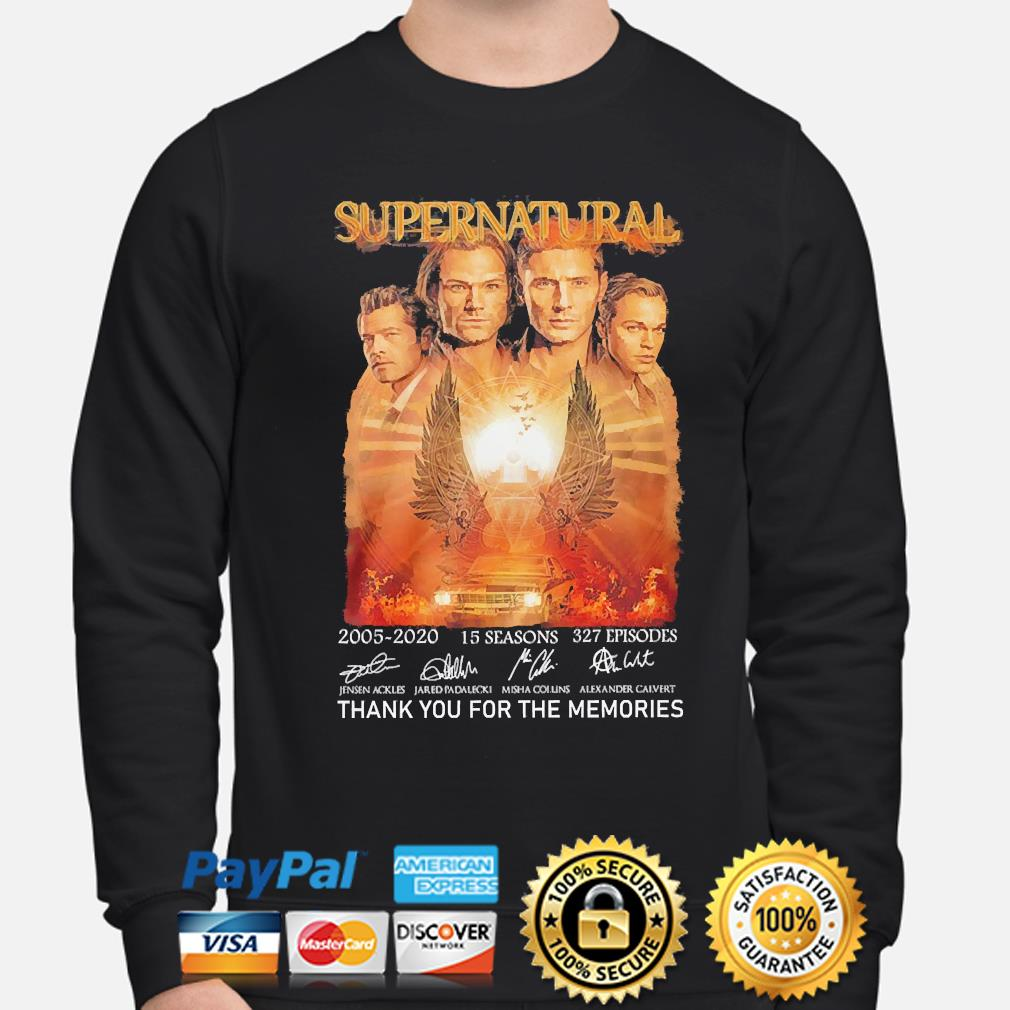 Supernatural 15 seasons 327 episodes thank you for the memories signatures s sweater