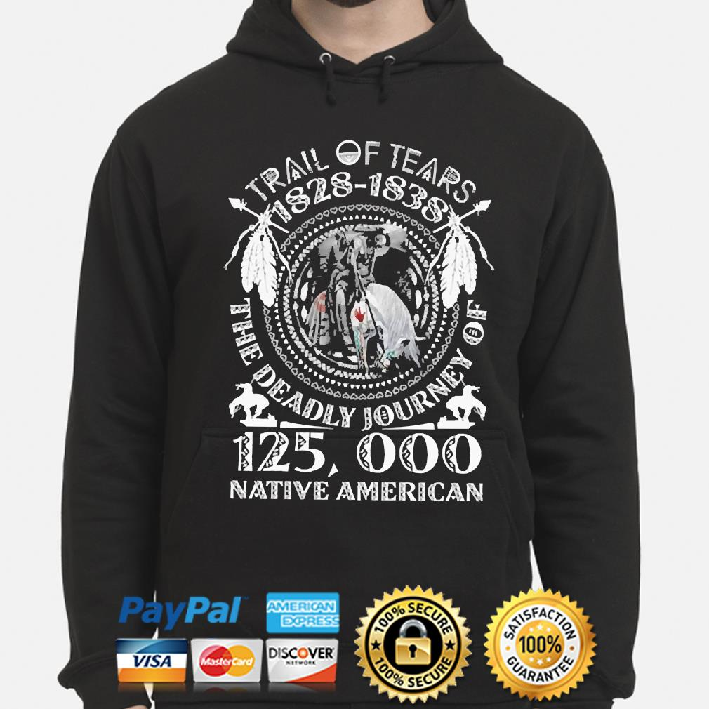 Trail of tears 1828-1838 the deadly journey of 125000 Native American s hoodie