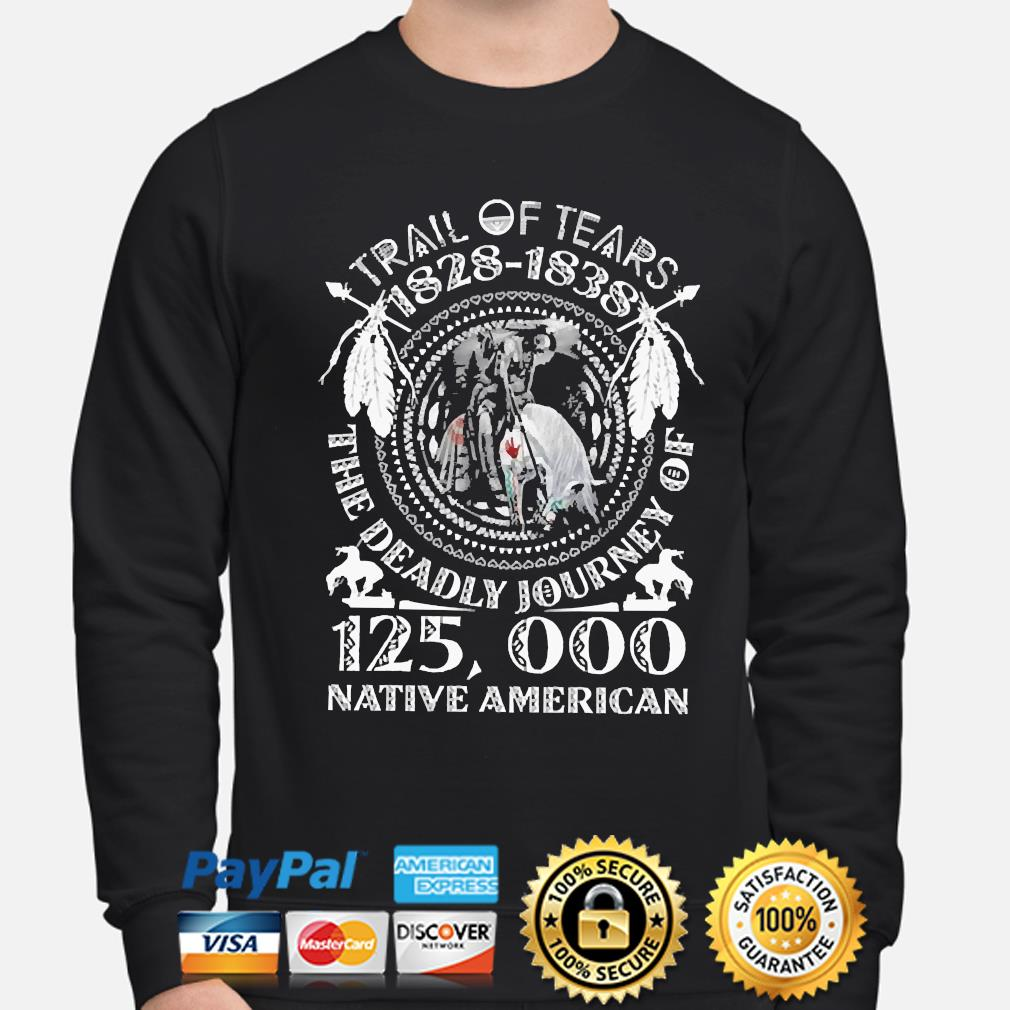 Trail of tears 1828-1838 the deadly journey of 125000 Native American s sweater