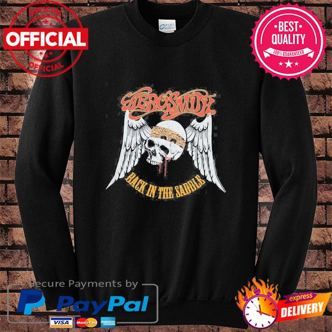 Aerosmith rock band back in the saddle graphic s Sweater black
